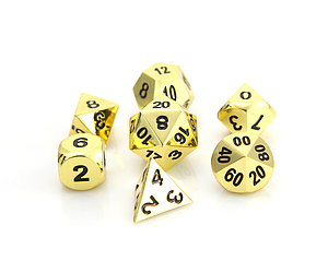 Metal RPG 7-Dice Set - Shiny Gold with Black