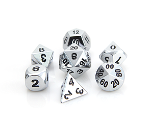 Metal RPG 7-Dice Set: Shiny Silver with Black