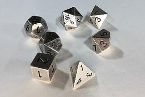Metal 7-Dice Set: Silver