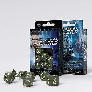 Classic RPG 7-Dice Set: Olive & White