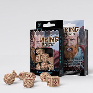 Viking 7-Dice Set: Beige & Burgundy