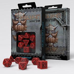 Dwarven 7-Dice Set: Red & Black