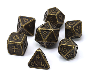 Metal Mythica 7-Dice Set: Dark Gold
