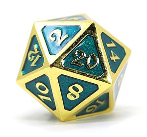 Big D20 - Mythica Gold Aquamarine