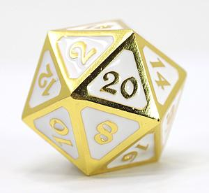 Big D20 - Mythica Shiny Gold White