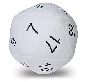 Jumbo D20 Dice Plush: White
