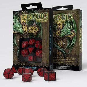 Celtic Dice Set: Black/Red