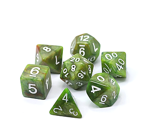 Poly RPG 7-Dice Set: Green Troll