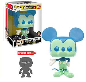 "Pop! Disney Mickey 90th Anniversary Vinyl Figure Mega 10"" Mickey Mouse (Blue & Green) #457 Funko-Shop Exclusive"