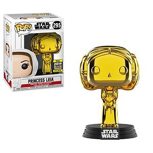 Pop! Star Wars Vinyl Bobble-Head Princess Leia (Gold Chrome) #295 2019 Galactic Convention Exclusive