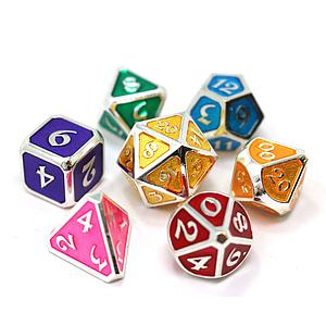 Metal Mythica 7-Dice Set: Platinum & Rainbow