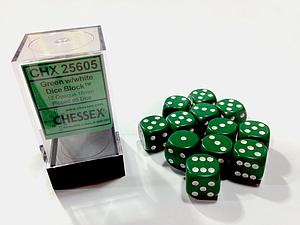 Dice 12D6 Set - Opaque Green w/White