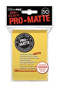 Non-Glare Pro-Matte: Yellow Standard Card Sleeves (66mm x 91mm)