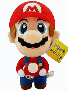 "Plush Toy Super Mario Bros 10"" Mario with Mushroom"