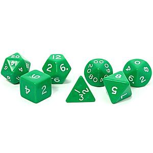 Opaque Jumbo 7-Die Set: Green & White