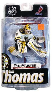 NHL Sportspicks Series 24 Tim Thomas with Net (Boston Bruins) White Jersey Exclusive Error (No Puck or Stick)