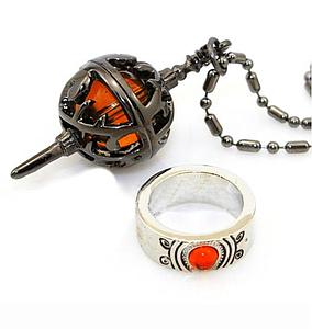 Madoka Magica Ring & Necklace: Red Spiked Egg Set