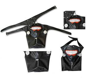 Tokyo Ghoul Cosplay Prop Mask with Zipper, Canisters, Neck-cover & Eyepatch