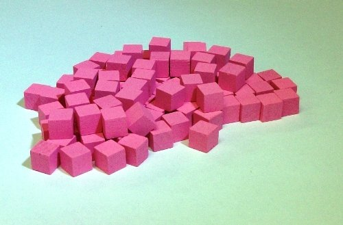8mm Wooden Cube Tokens Pink