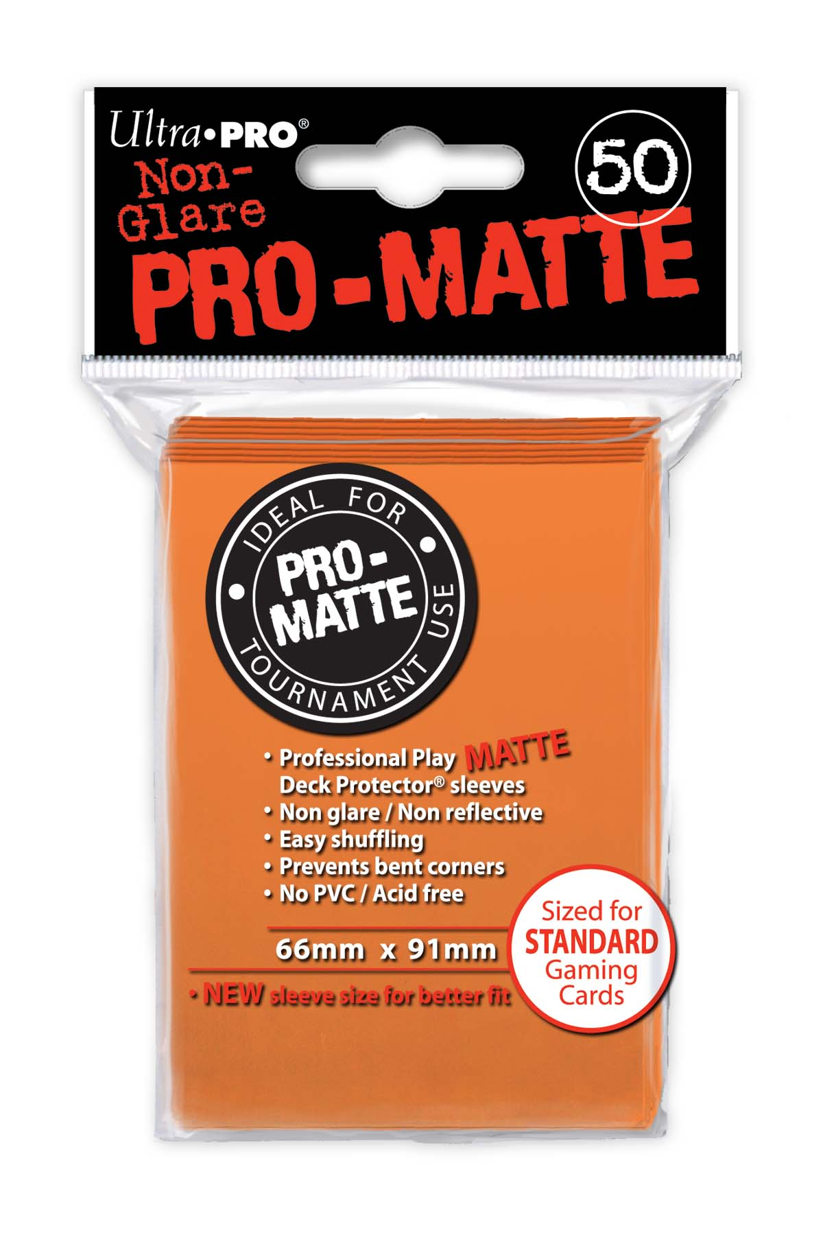 Card Sleeves 50-pack Non-Glare Pro-Matte Standard Size: Orange