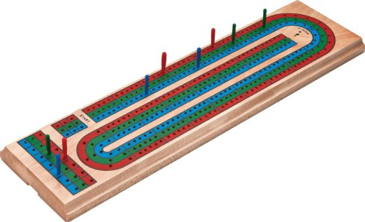 Cribbage 3-Track Color Board with Deck of Playing Card