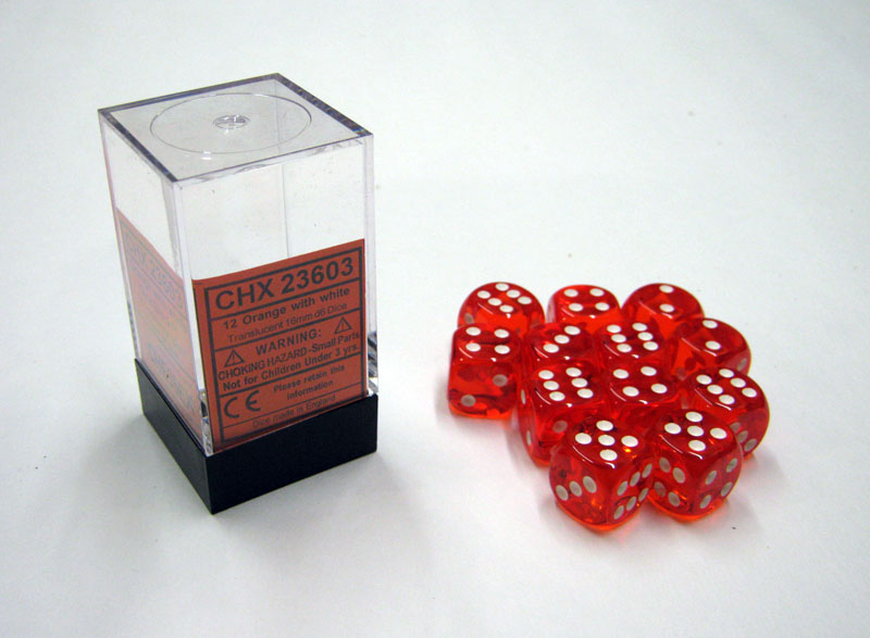 Dice 12D6 Set - Translucent Orange w/White