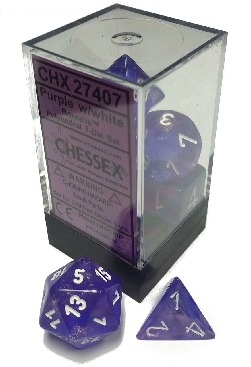 Dice 7-Piece Polyhedral Set - Borealis Purple w/White