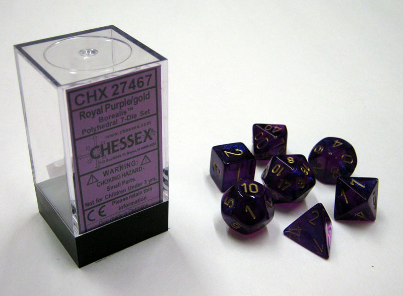 Dice 7-Piece Polyhedral Set - Borealis Royal Purple w/Gold