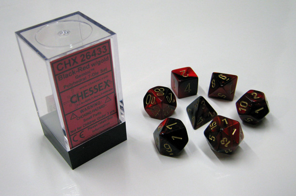 Dice 7-Piece Polyhedral Set - Gemini Black Red Gold