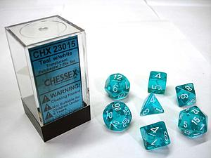 Dice 7-Piece Polyhedral Set - Translucent Teal w/White