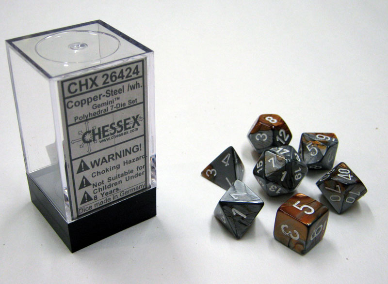 Dice 7-Piece Polyhedral Set - Gemini Copper Steel White