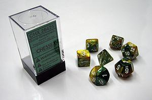 Dice 7-Piece Polyhedral Set - Gemini Gold Green White
