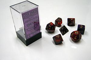 Dice 7-Piece Polyhedral Set - Gemini Purple-Red/gold