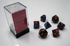 Dice 7-Piece Polyhedral Set - Gemini Blue Red Gold