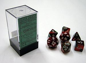 Dice 7-Piece Polyhedral Set - Gemini Green Red White