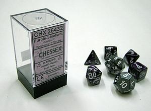 Dice 7-Piece Polyhedral Set - Gemini Purple Steel White