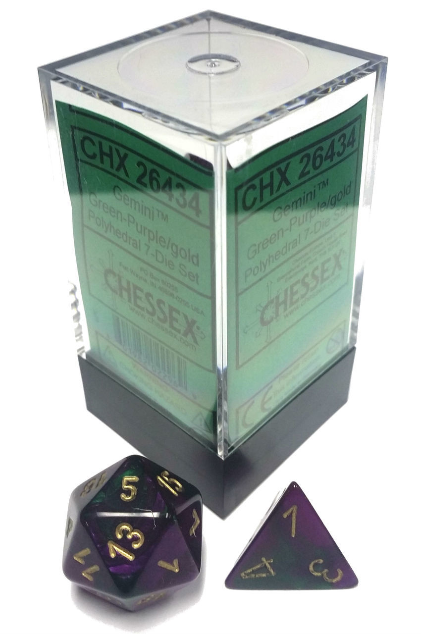 Dice 7-Piece Polyhedral Set - Gemini Green Purple Gold
