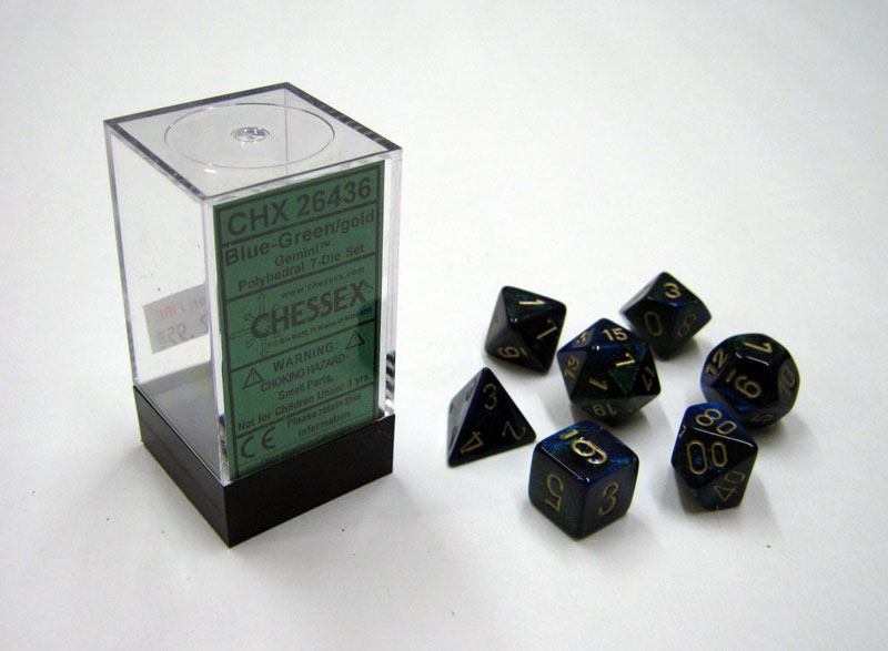 Dice 7-Piece Polyhedral Set - Gemini Blue Green Gold