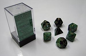 Dice 7-Piece Polyhedral Set - Gemini Black Green Gold