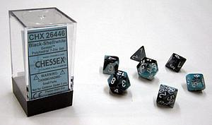 Dice 7-Piece Polyhedral Set - Gemini Black Shell White