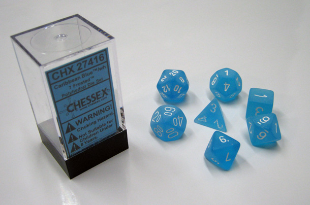 Dice 7-Piece Polyhedral Set - Frosted Caribbean Blue w/White