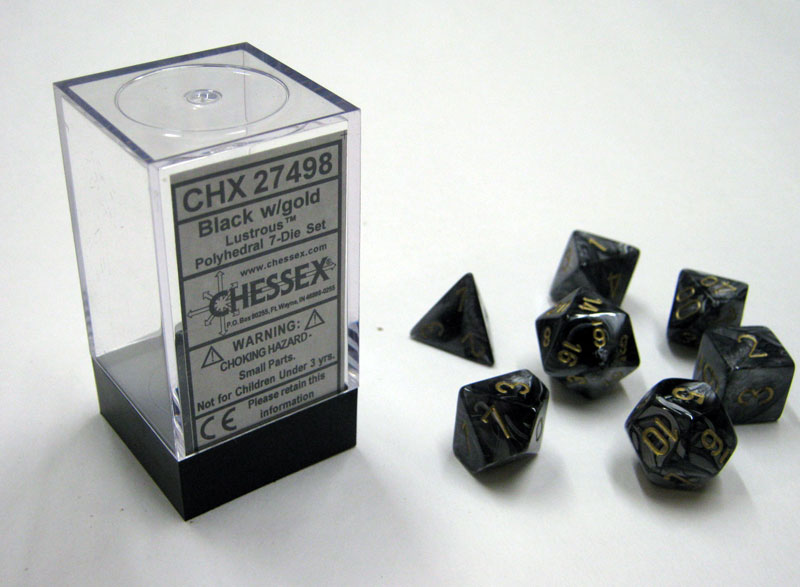 Dice 7-Piece Polyhedral Set - Lustrous Black w/Gold