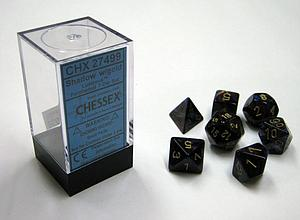 Dice 7-Piece Polyhedral Set - Lustrous Shadow w/Gold