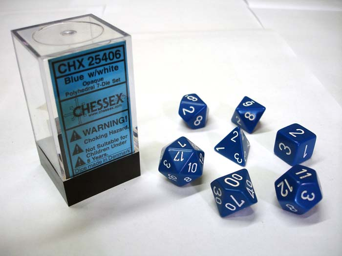 Dice 7-Piece Polyhedral Set - Opaque Blue w/White