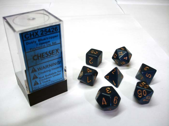 Dice 7-Piece Polyhedral Set - Opaque Dusty Blue w/Copper