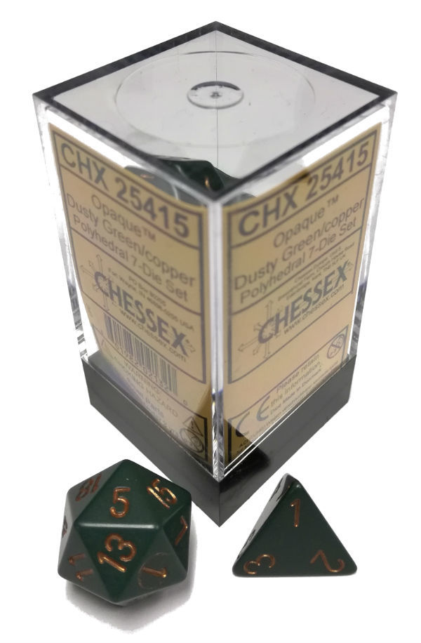 Dice 7-Piece Polyhedral Set - Opaque Dusty Green w/Gold
