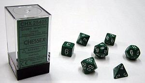 Dice 7-Piece Polyhedral Set - Opaque Green w/White