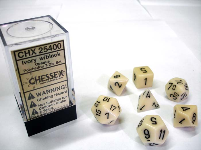 Dice 7-Piece Polyhedral Set - Opaque Ivory w/Black