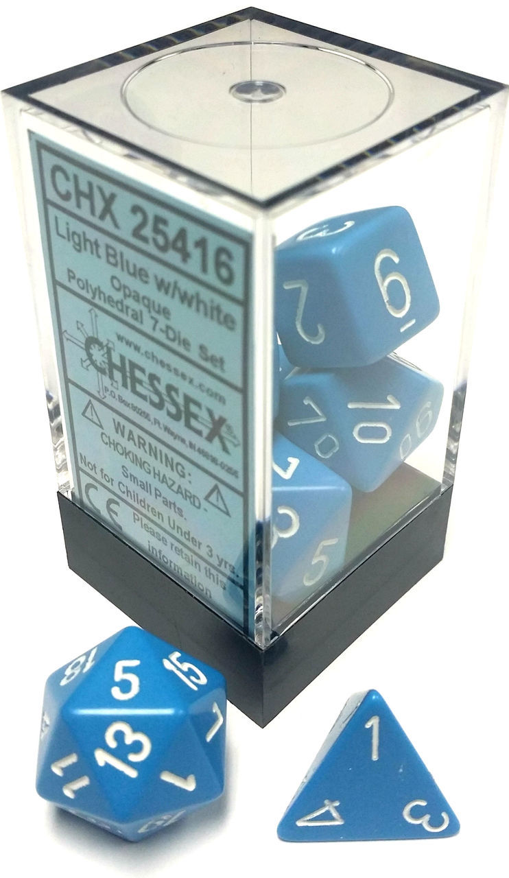 Dice 7-Piece Polyhedral Set - Opaque Light Blue w/White