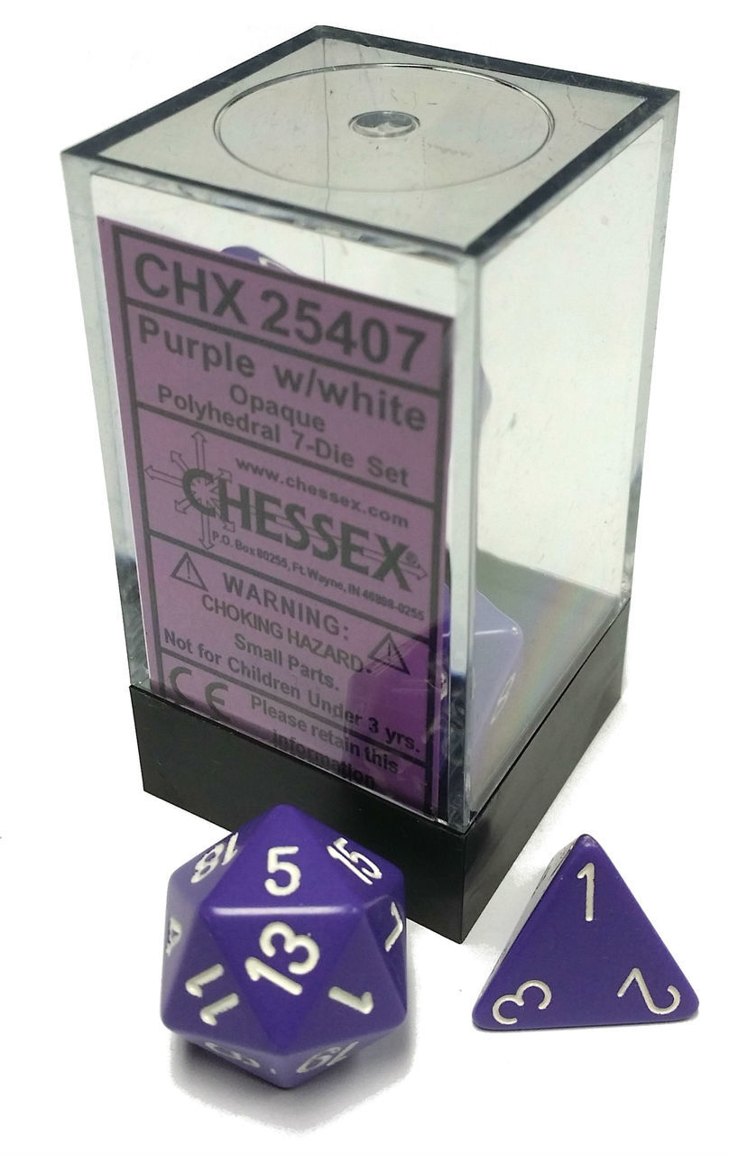 Dice 7-Piece Polyhedral Set - Opaque Purple w/White